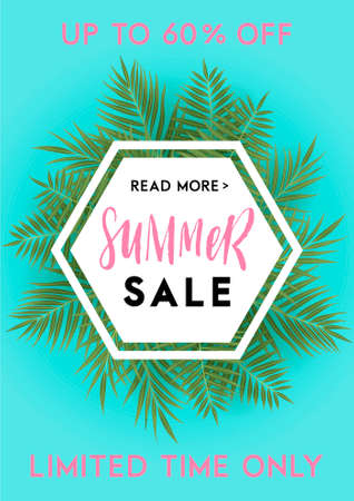 Summer Greeting Card And Poster With Leaves And Hand Drawn Lettering And Textures Great For Sale Banners Wallpaper Flyers Invitation Posters Brochure Voucher Discount Ticket Design And More Royalty Free Vector Graphics