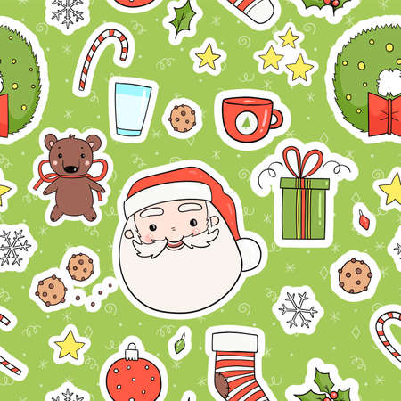 Ilustración de 80s Christmas party seamless pattern. Cute, cozy and bright winter holiday theme wrapping paper tile. Merry christmas background in traditional retro red green yellow colors. Vector eps 10 - Imagen libre de derechos