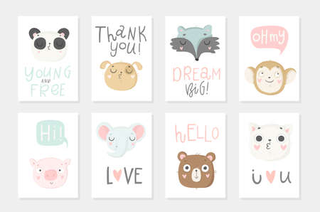 Illustration pour Collection of 8 baby shower posters. Cards with cute animals and hand drawn lettering on white background, pastel colors. Wedding, save the date, baby shower, bridal, birthday. Vector - image libre de droit