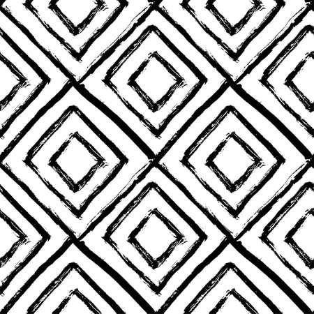 Ilustración de Hand drawn seamless pattern. Black and white, grunge textured monochrome vector illustration. Brush made abstract background. Hipster monochrome texture with triangles. Trendy graphic design. - Imagen libre de derechos