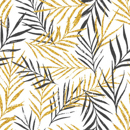Illustration for Abstract floral seamless pattern with palm leaves, trendy gold glitter texture. Stylish background, textile or wrapping paper design. Vector illustration - Royalty Free Image