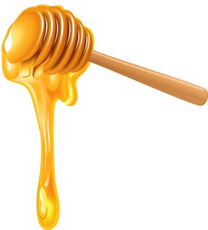 Honey dripping from wooden honey dipper