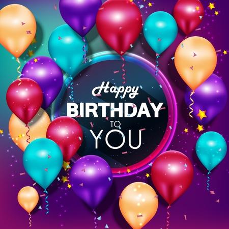 Illustration pour Colorful balloons Happy Birthday on purple background - image libre de droit