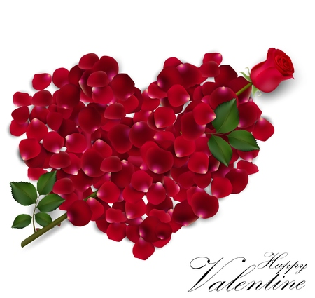 Illustration for Valentine's day background with rose petals heart - Royalty Free Image