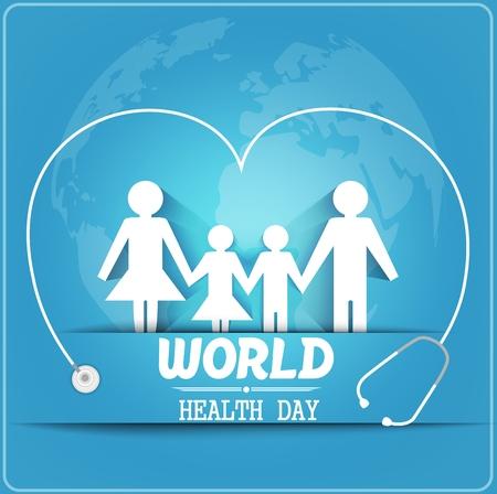 Ilustración de World health day concept with healthy family under stethoscope and globe - Imagen libre de derechos