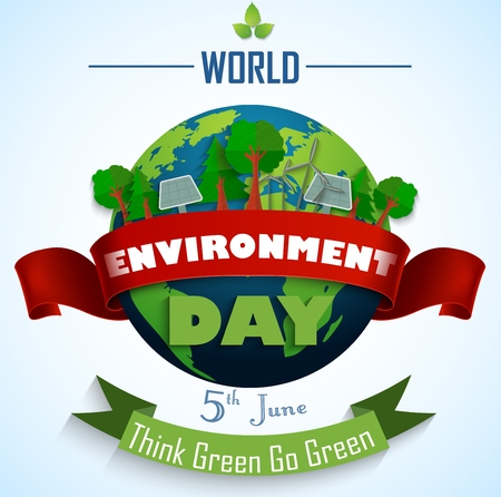 Illustration for World environment day 5th june with Red and green Ribbons - Royalty Free Image