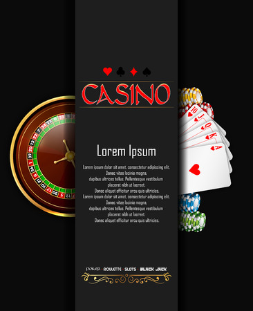 Casino banner with roulette wheel, chips and playing cards
