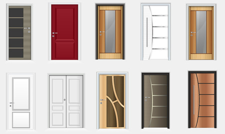 Illustration pour Vector illustration of Collection of colorful room doors icons - image libre de droit