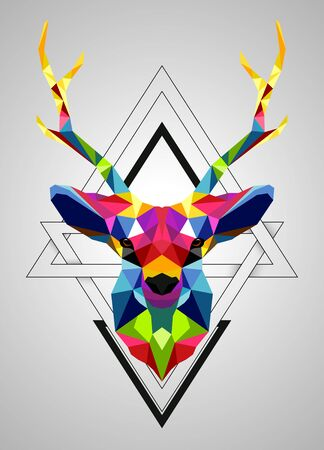 Illustration for Vector illustration of Colorful deer low poly design - Royalty Free Image