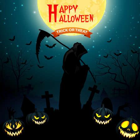 Illustration pour Halloween grim reaper holding scythe with pumpkins - image libre de droit