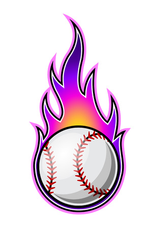 Vector illustration of baseball ball with simple flame shape. Ideal for sticker, decal, sport logo and any kind of decoration.のイラスト素材