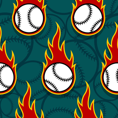 Illustration pour Seamless pattern with baseball ball icons and flames. Vector illustration. Ideal for wallpaper, wrapping, packaging, fabric design and any kind of decoration. - image libre de droit
