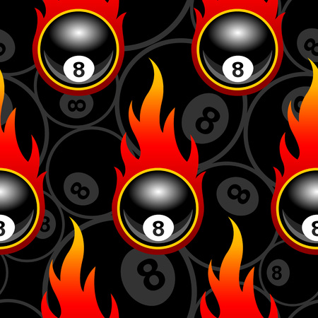 Illustration pour Seamless pattern with billiards pool snooker 8 ball icons and flames. Vector illustration. Ideal for wallpaper, wrapper, packaging, fabric design and any kind of decoration. - image libre de droit