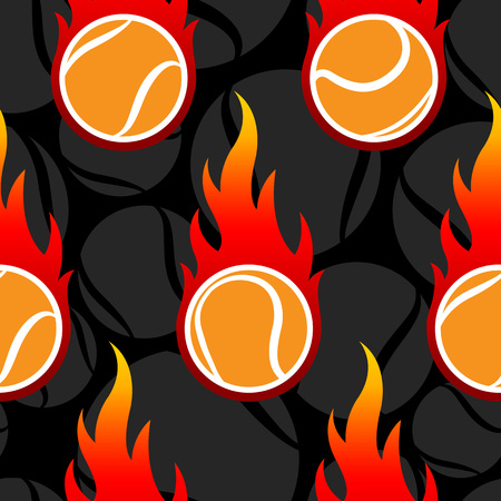 Seamless pattern with tennis ball icons and flames. Vector illustration. Ideal for wallpaper, wrapping, packaging, fabric design and any kind of decoration.