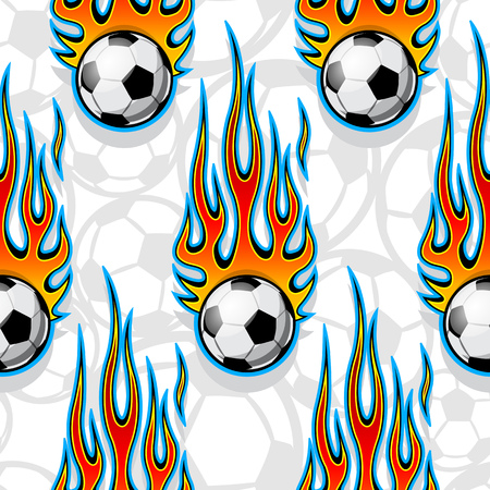 Seamless pattern with football soccer balls and hot rod flames. Vector illustration. Ideal for wallpaper, cover, packaging, fabric, textile, wrapping paper design and any kind of decoration.