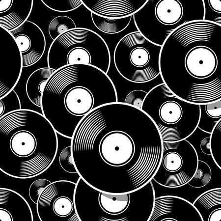 Illustration for Retro music vintage vinyl record icon printable seamless pattern. Vector illustration. Ideal for wallpaper, wrapper, packaging, fabric, textile, paper design and any decoration. - Royalty Free Image