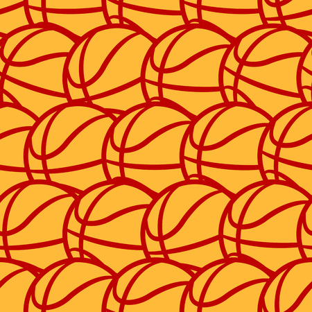 Seamless pattern with basketball ball. Vector illustration. Ideal for wallpaper, cover, wrapper, packaging, fabric, textile design and any kind of decoration.