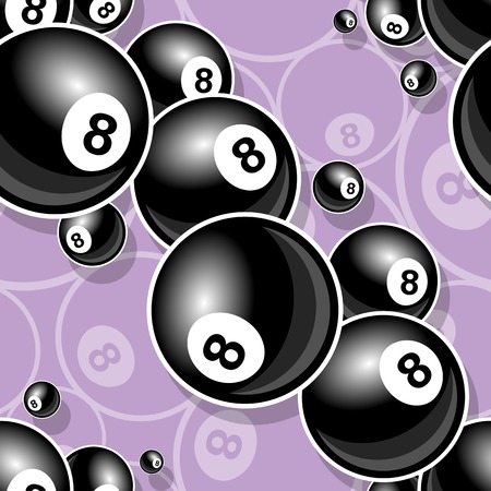 Illustration pour Printable pattern with billiards pool snooker 8 ball symbol. Vector illustration. Ideal for wallpaper, wrapper, packaging, fabric, textile, paper design and any kind of decoration. - image libre de droit