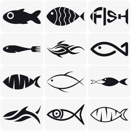 Collection of creative vector black  fish icons on white backgroundのイラスト素材