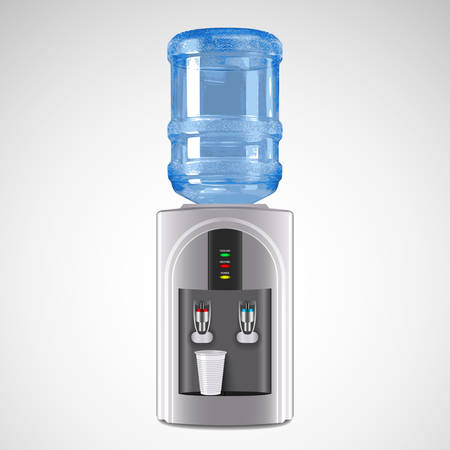 Realistic Electric Water Cooler with plastic glass. Vector Illustration
