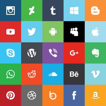 Illustration pour Social network media flat icons. Vector illustrasion - image libre de droit