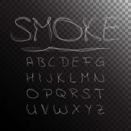 Illustration pour Smoke Alphabet, font, abc on transparent background. Vector illustration - image libre de droit