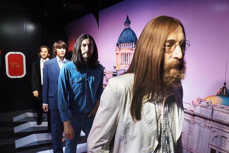 Bangkok, Thailand - SEPTEMBER 19 2016: The Beatles Band on the Row with John Lennon in front. at Madame Tussauds, Bangkok Thailand
