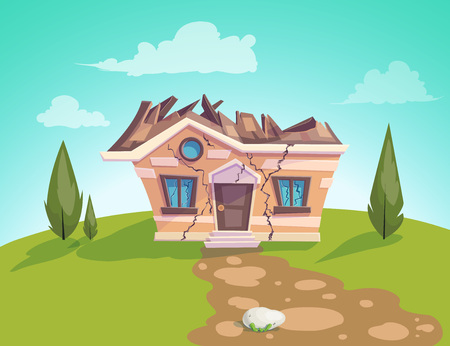 Illustration pour house destroyed facade Vector. Cracks in walls of home. Property insurance. Illustration of a cartoon country house in summer season - image libre de droit