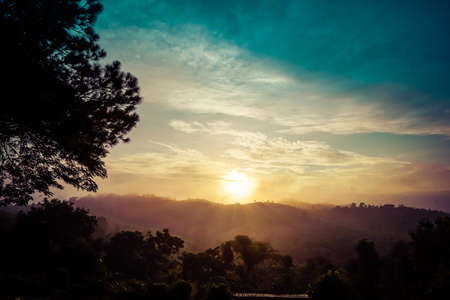 Photo pour Mountain natural view in the morning time at Khao Kho, Thailand. - image libre de droit