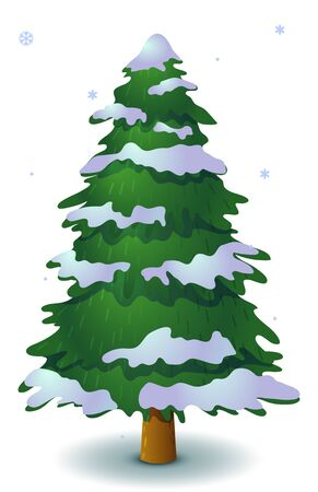 Illustration pour Vector green snowy coniferous tree. Game UI flat. Stylized spruce for logo design, decorating clothes, build 2D games or postcards. Isolated stock illustration on white background. - image libre de droit
