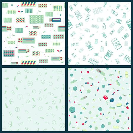 Illustration for Set of Vector seamless pattern with packing blister with capsules and plastic jar for tablets.   Isolated stock illustration - Royalty Free Image