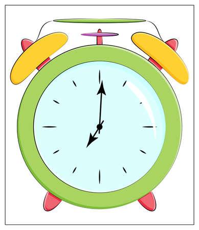 Illustration pour Vector Silhouette of classic clock Icon. Flat vector illustration of green Alarm clock - image libre de droit