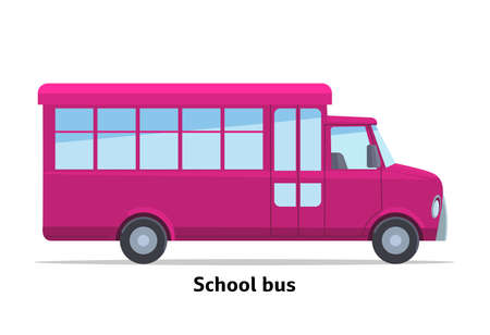 Illustration for School bus side view. Vector stock flat illustration. Raspberry cartoon, toy car. Simplified style for design and animation. - Royalty Free Image
