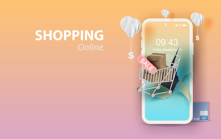 Illustration for Paper art of smartphone for online shopping your text space background, Shopping Cart Floating on mobile phone concept,Balloon by dollar money on pastel color,Shopping via the internet shop.vector. - Royalty Free Image