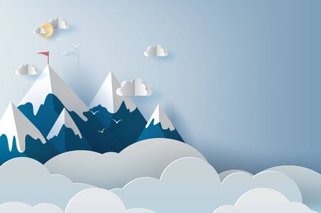 Illustration Of Landscape And Cloud Mountains And Birds On Blue Sky Creative Design Paper Cut And Craft Style Of Business Teamwork Targeted Mountain Concept Idea Scene Your Text Space Pastel Vector Royalty Free Vector Graphics,Fractal Design Tempered Glass Side Panel For Fractal R6