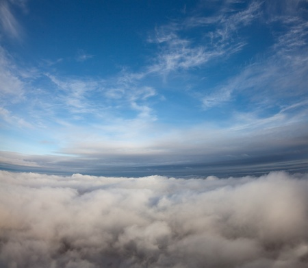 Aerial view from the top to the cloudy space.