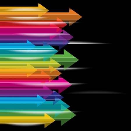 moving colorful transparent arrows on black background