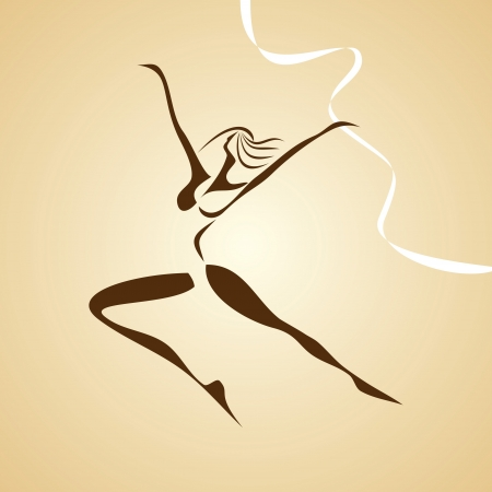 stylized illustration of dancing girl