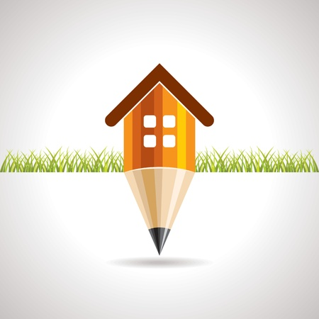 home with pencil education concept