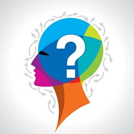 Illustration pour Human head with question mark symbol on colorful - image libre de droit