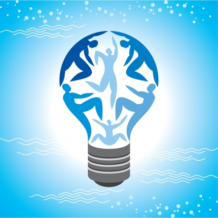 Illustration for The Light Bulb For Job and Business Concept in Blue Sky Background - Royalty Free Image