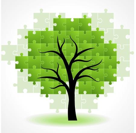 Illustration pour Abstract tree puzzle colorful background - image libre de droit