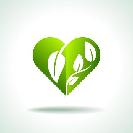 Eco friendly concept  Heart leaf shape
