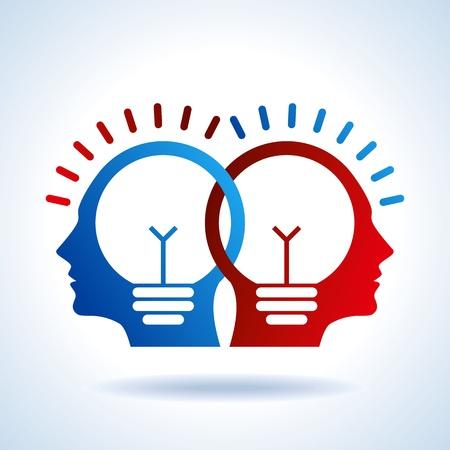 Illustration pour Human heads with Bulb symbol Business concepts - image libre de droit