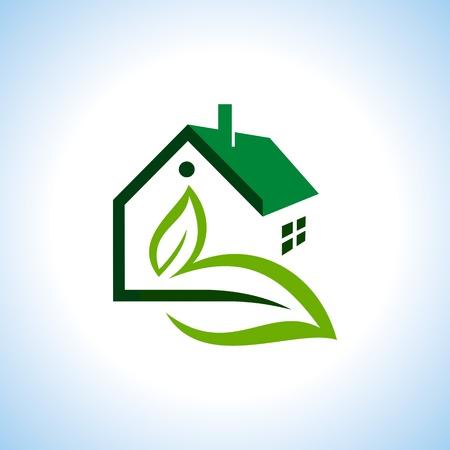 Bio eco green house icon