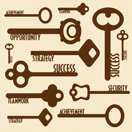 many keys with words, business concept