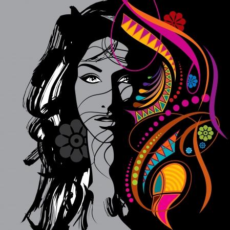 Ilustración de creative fashion beautiful woman - Imagen libre de derechos