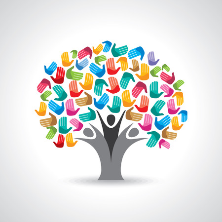 Illustration pour Isolated diversity tree hands illustration. - image libre de droit