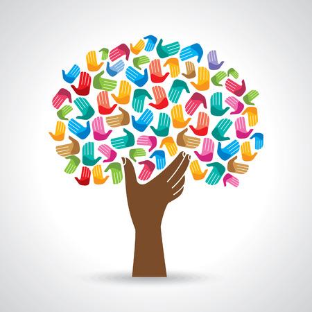 Ilustración de Isolated diversity tree hands illustration. - Imagen libre de derechos