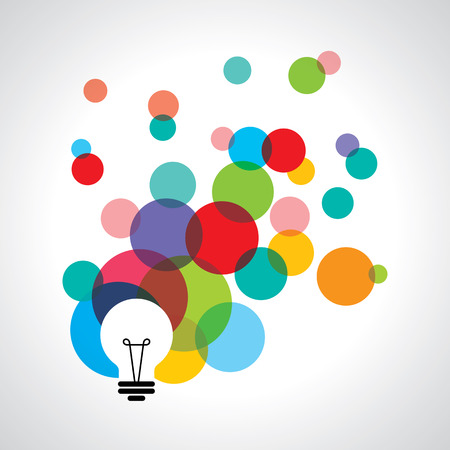 Illustration for light bulb icons with concept of idea. - Royalty Free Image